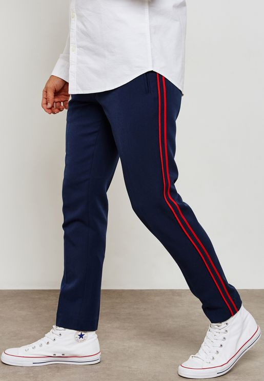 Skinny Side Taping Cropped Trousers