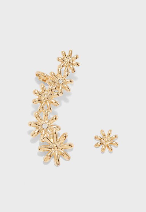 Rhinestone Floral Ear Crawler & Stud Set
