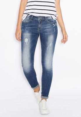 Ginger Paint Splatter Ripped Skinny Jeans
