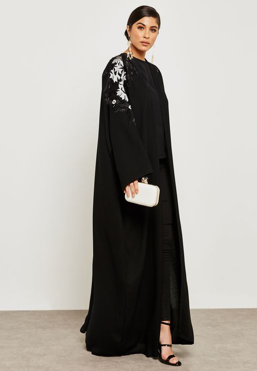 Embroidered Top Beadwork Abaya