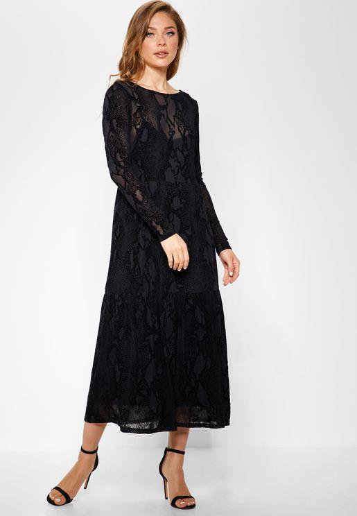 Lace Mesh Long Sleeve Dress