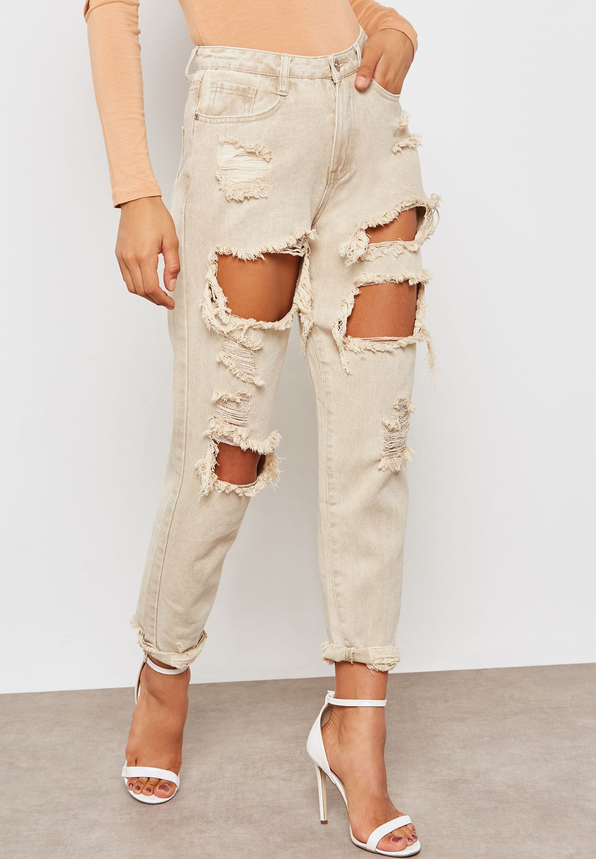 d1ad6ec81b Shop Missguided beige Riot High Rise Extreme Ripped Mom Jeans G1805525 for  Women in UAE - MI669AT07TLO