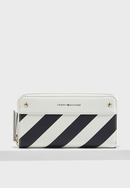 Stripe Zip Around Purse