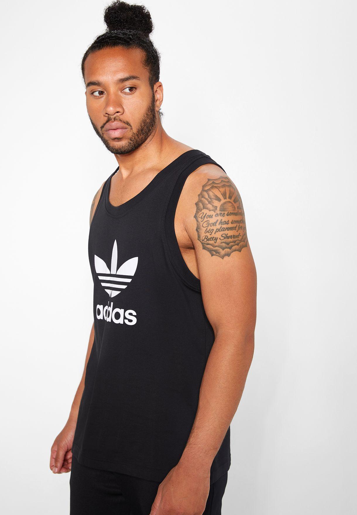 d620159d4d6528 Shop adidas Originals black adicolor Trefoil Tank DV1509 for Men in ...