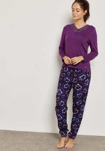 Pansy Print Pyjama Set