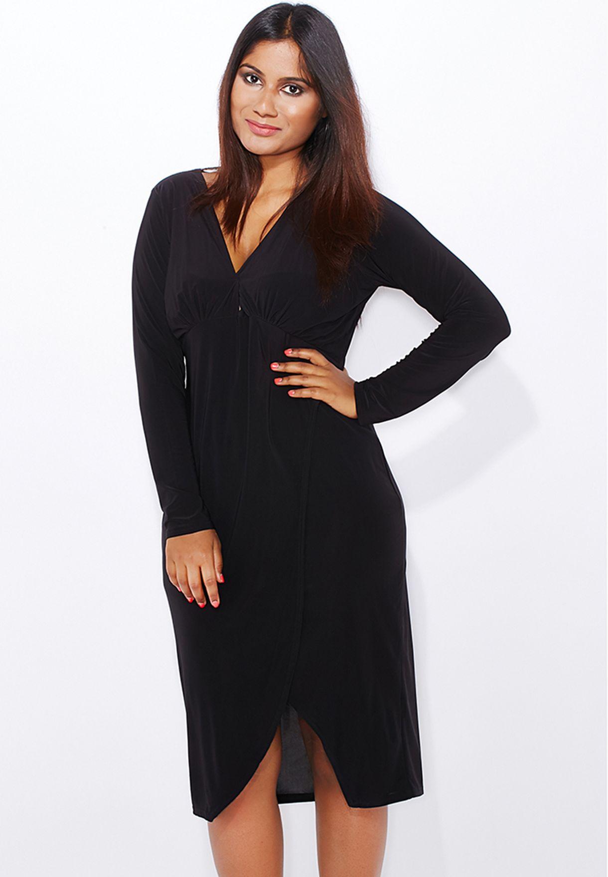 7aa7fd2a332f7 Shop Boohoo Curve black Asymmetric Hem Dress PZZ98883 for Women in Saudi -  BO798AT07DAI