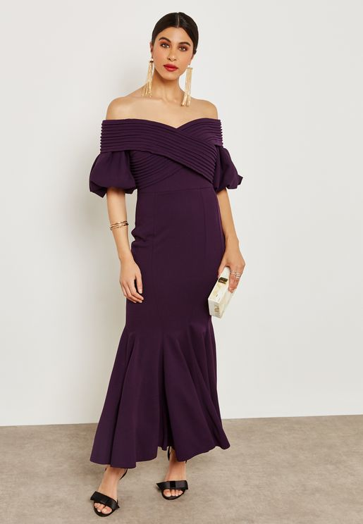 Puffed Sleeve Off Shoulder Dress