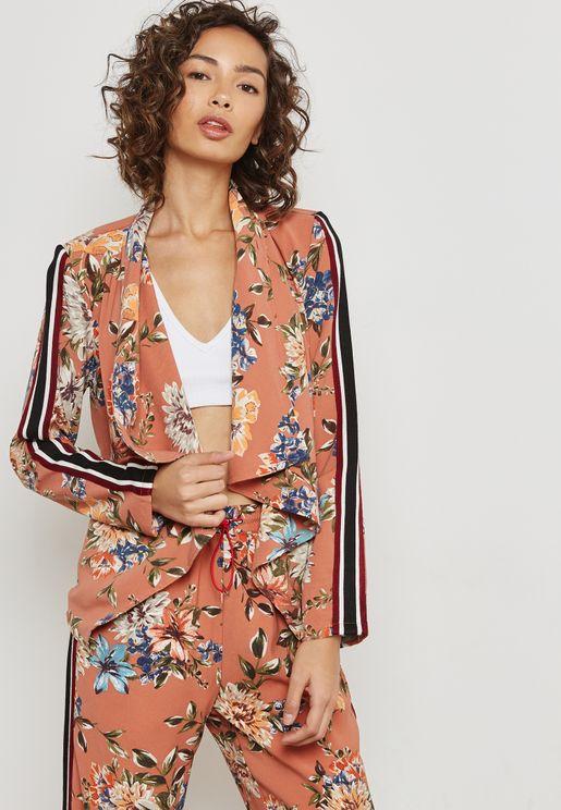Floral Print Side Paneled Blazer