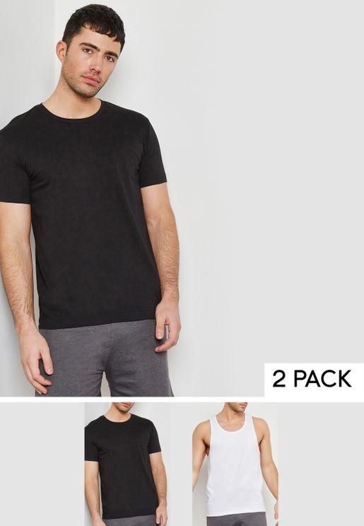 Essential Vest And Crew Neck T-Shirt Set