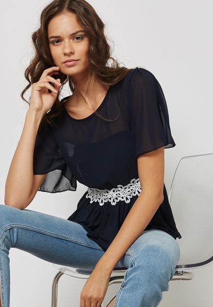 Bow Back Lace Paneled Top