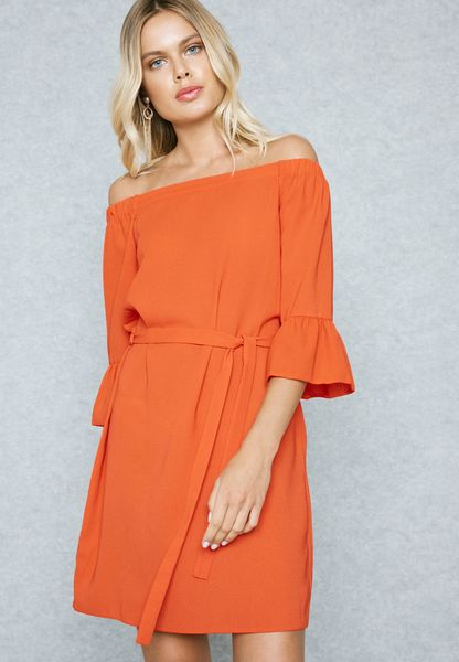 Flute Sleeve Belted Bardot Dress