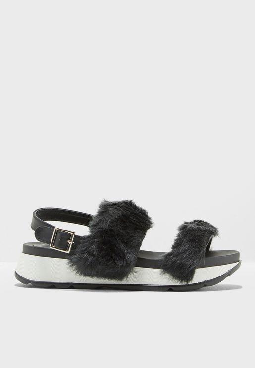 Fur Flat Sandals