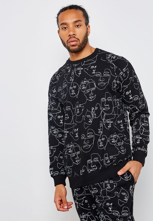 Malmoe Faces Print  Sweatshirt