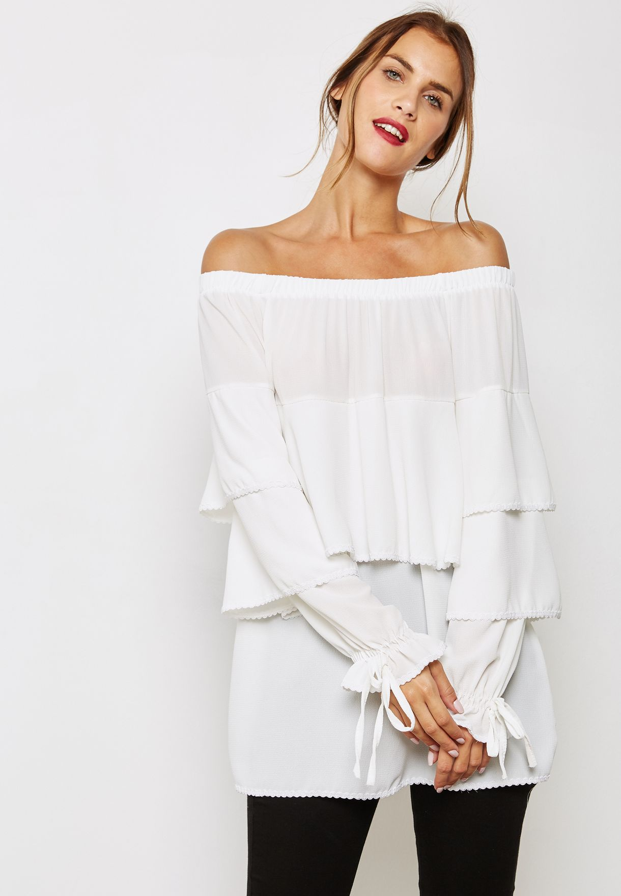 c330a970828a7c Shop Ginger white Tie Sleeve Ruffle Bardot Top SW1 for Women in ...