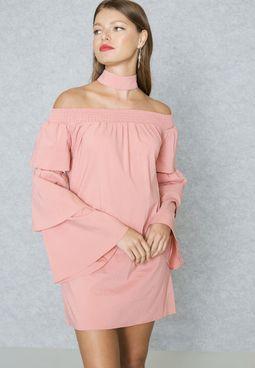 Choker Neck Bardot Dress