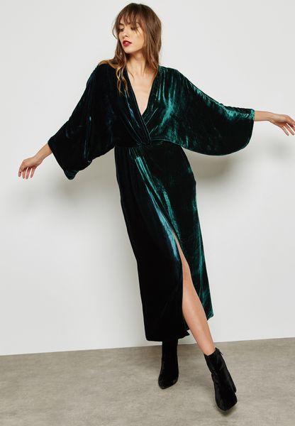 Tie Waist Velvet Dress