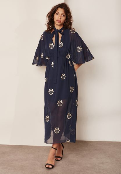 Embroidered Tie Neck Maxi Dress