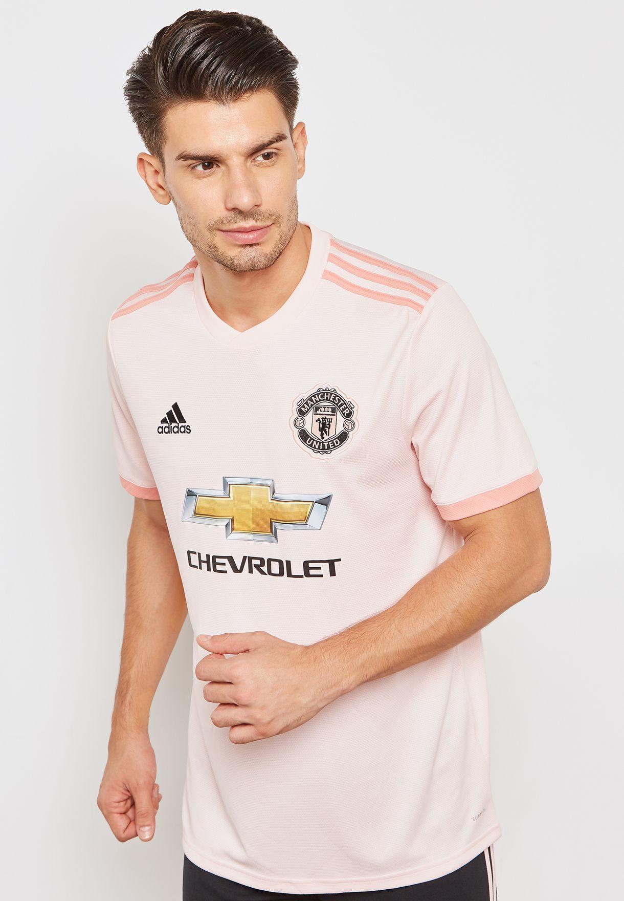 b82e88d81 Shop adidas pink Manchester United 18 19 Away Jersey CG0038 for Men ...