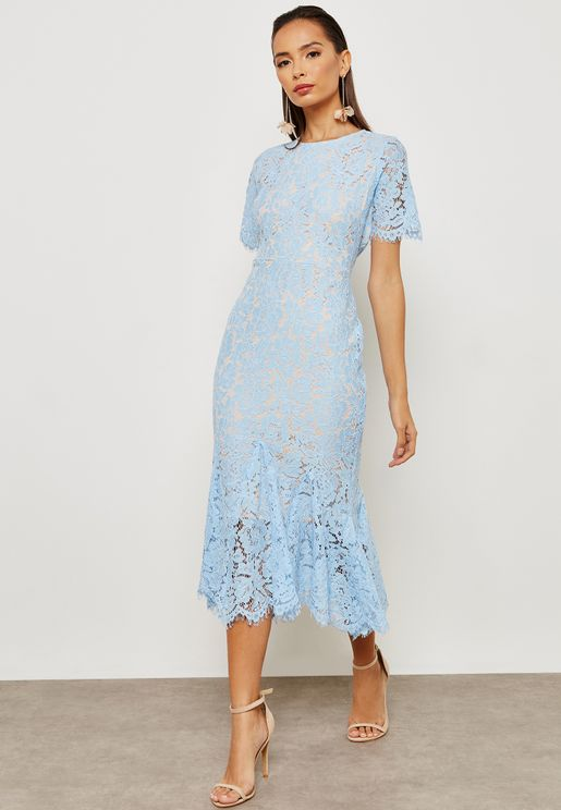 Lace Fishtail Bodycon Maxi Dress