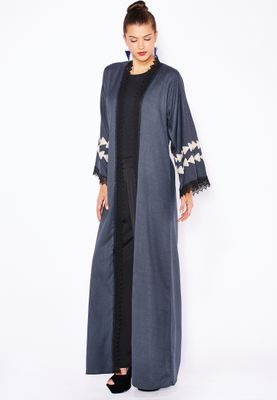 Haya's Closet Embroidered Paneled Lace Trim Abaya
