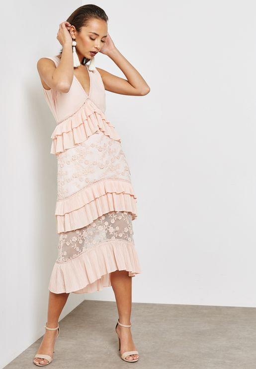 Ruffled Detail Plunge Dress