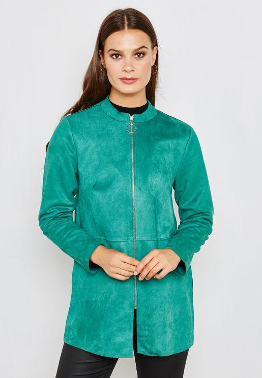 Suedette Zip Detail Jacket
