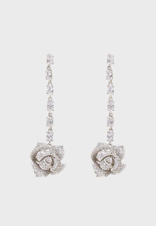 Pave Rose Drop Cubic Earrings