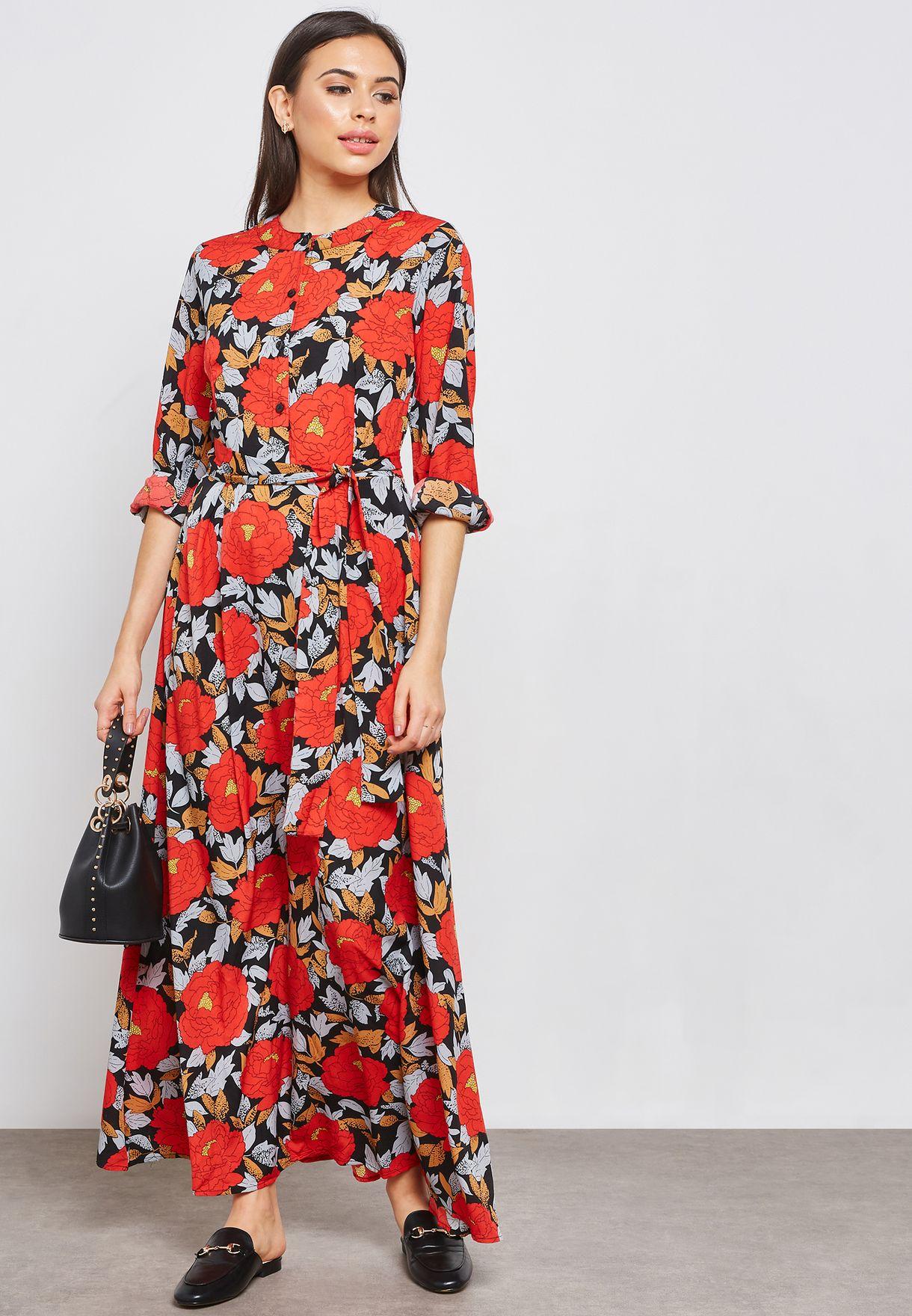 0bce1ad72 Shop Ella prints Floral Print Self Tie Maxi Dress 7060 for Women in UAE -  EL314AT07NKU