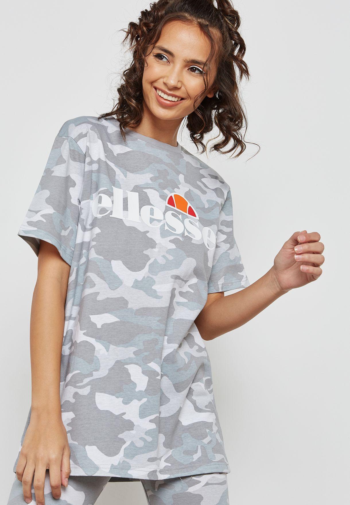 30ffe8d1f353 Shop Ellesse grey Albany Camo T-Shirt SGW03237 for Women in Bahrain ...