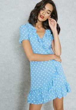 Frill Polka Dot Dress