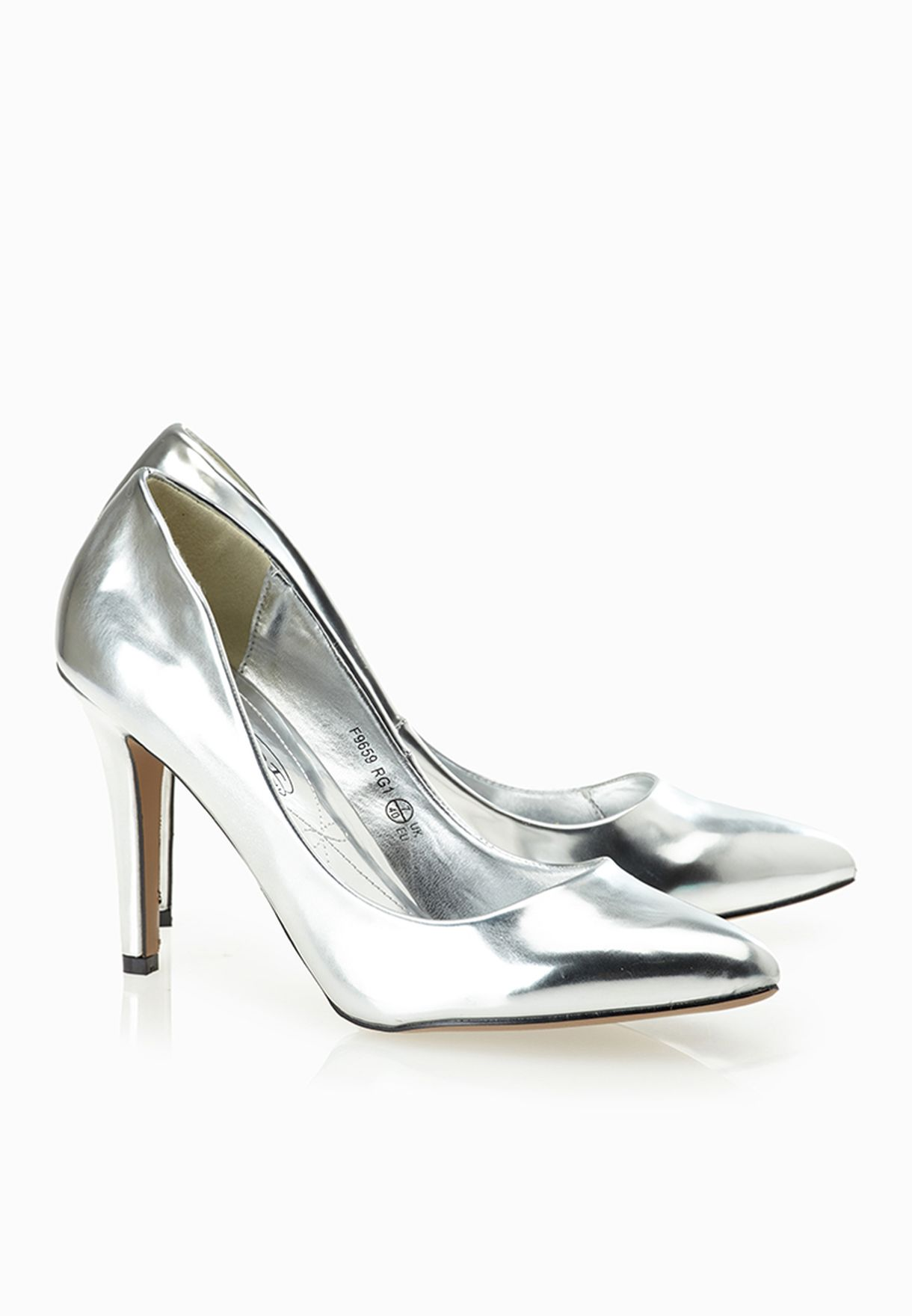 Ladies Slip On Pointed Toe Silver Court Shoes Great Shoes! F9659