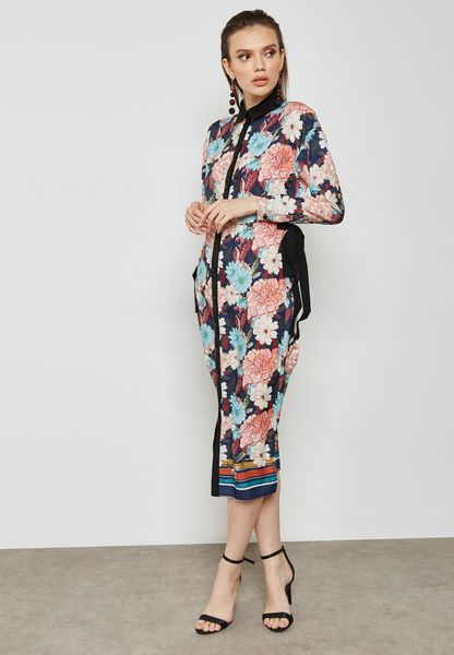 Floral Print Tie Side Shirt Dress
