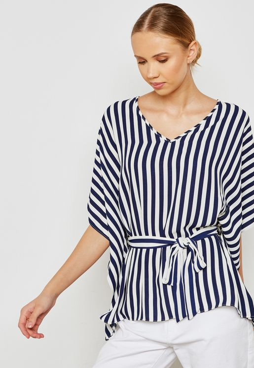 Belted Striped Top