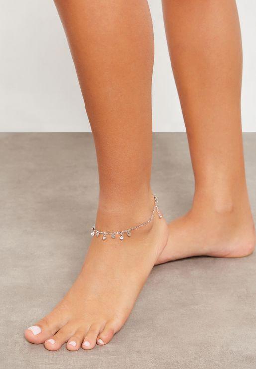 Diamanté Charm Anklet