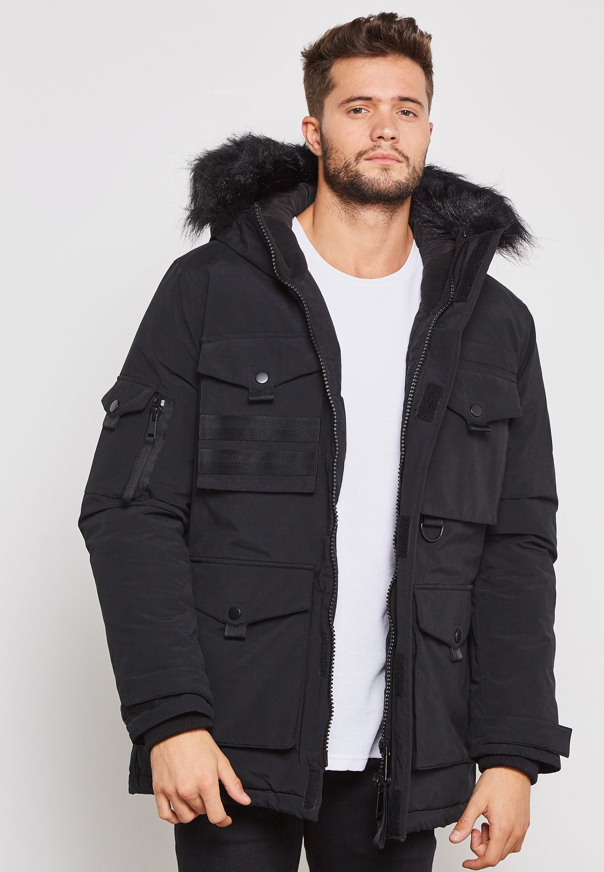 Black Padded Parka Jacket