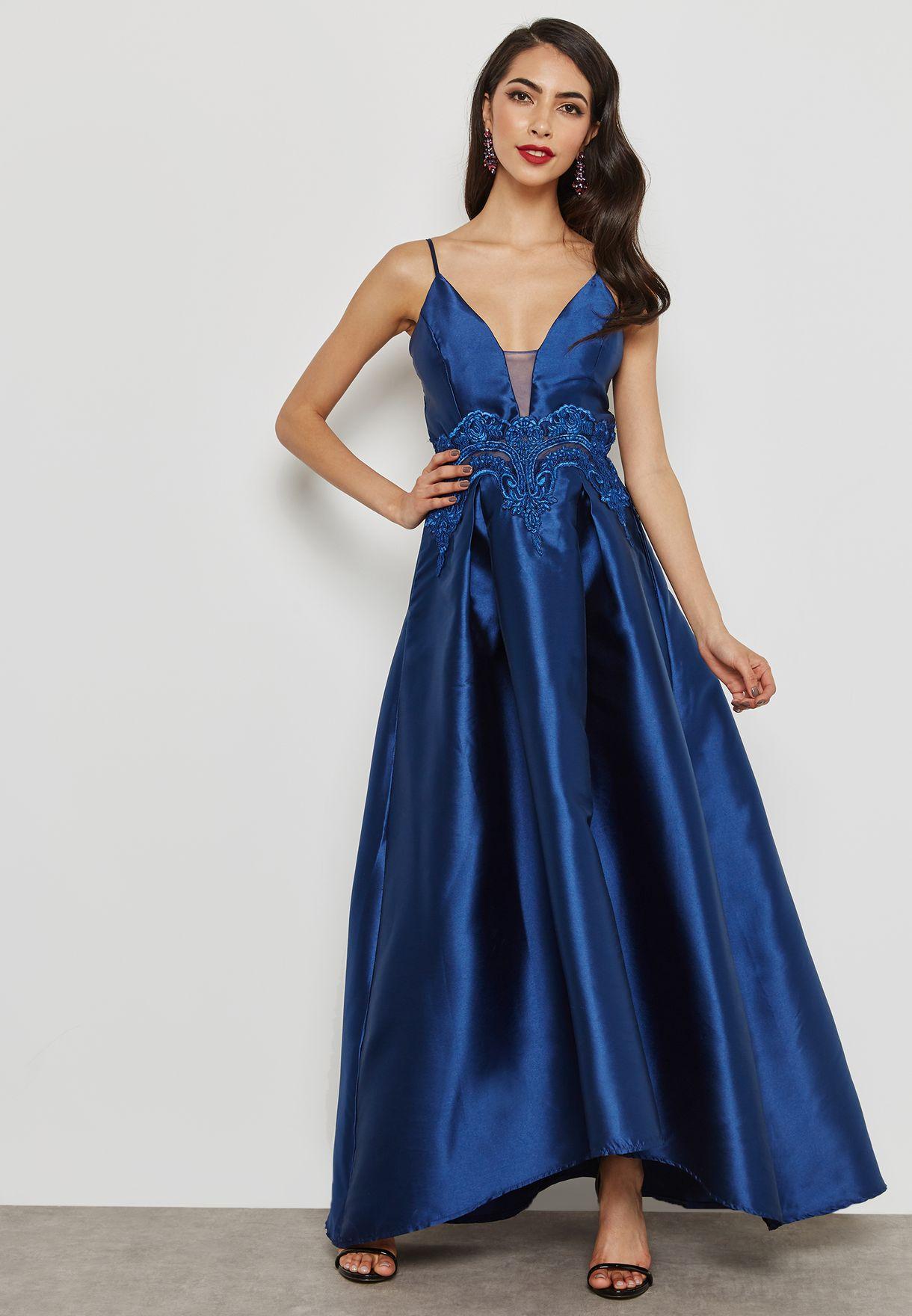 Lace Insert Satin Dress