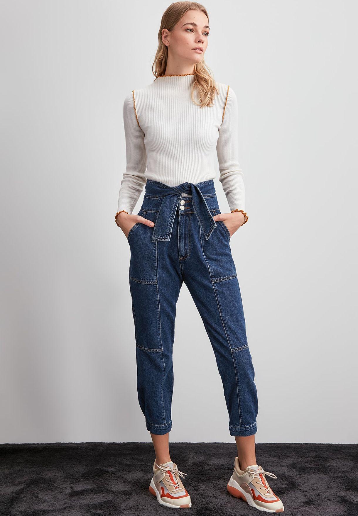 Seam Detail High Waist Mom Jeans