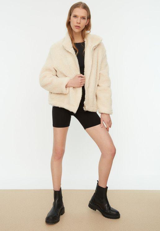 Faux Fur Full Zip Coat