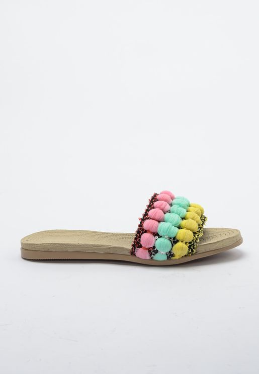 Pom Pom Detail Flat Sandal