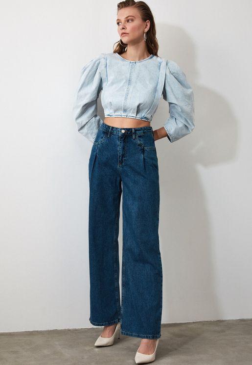 Pleated Wide Leg Jeans