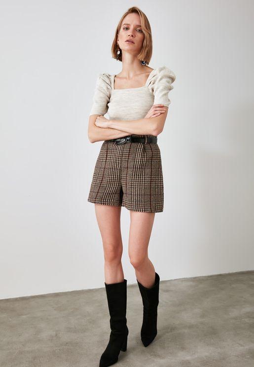 High Waist Plaid Shorts
