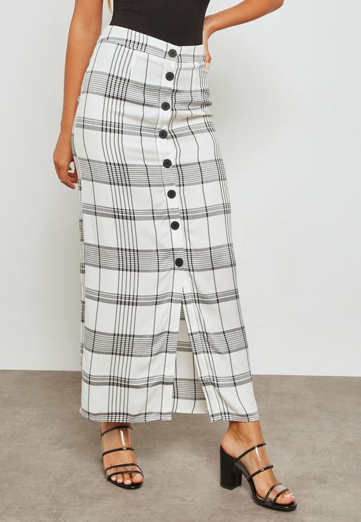 Checked Button Detail Skirt