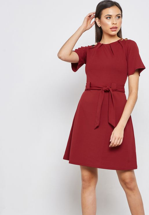 Button Detail Shift Dress