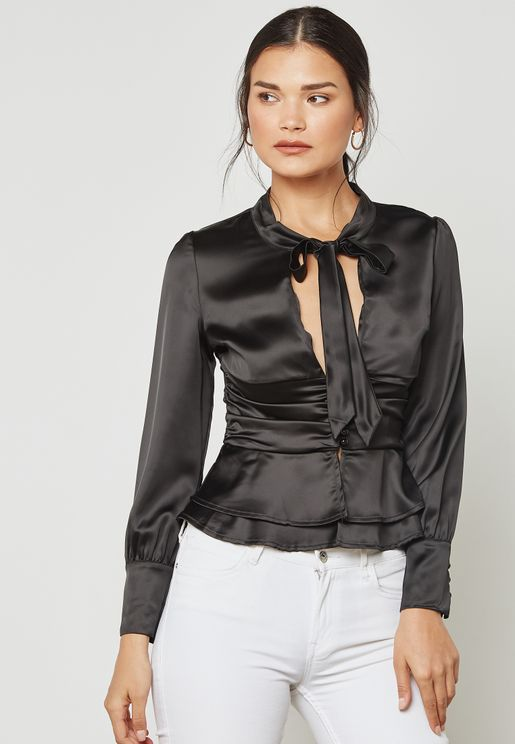 Tie Neck Pleated Waist Satin Top