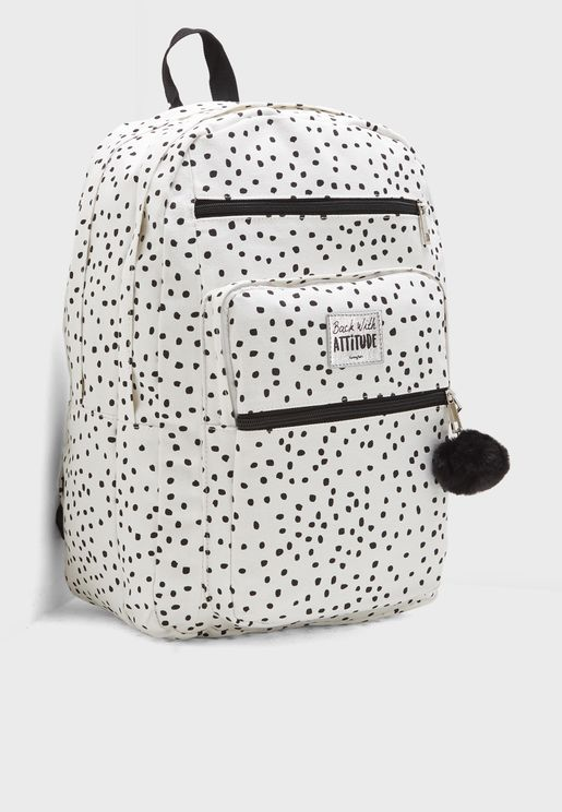Dotted Backpack with Pom Pom