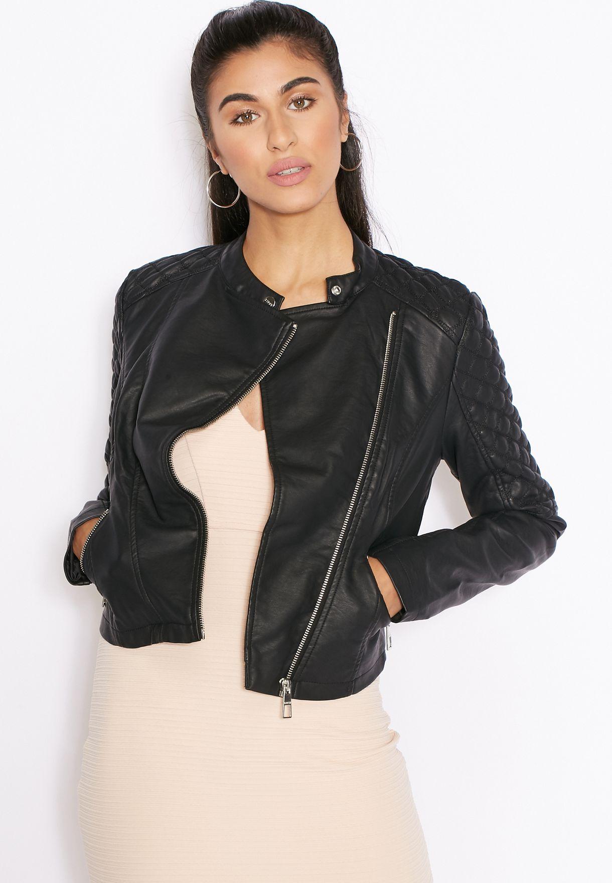 fbdaf14242 Shop Ariana Grande X Lipsy black Biker Jacket OU01199 for Women in Qatar -  AR951AT96HXN