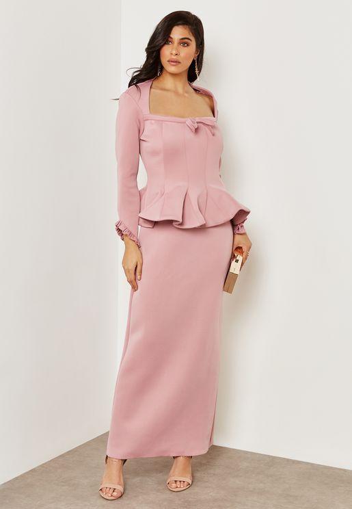 Peplum Bow Detailed Dress
