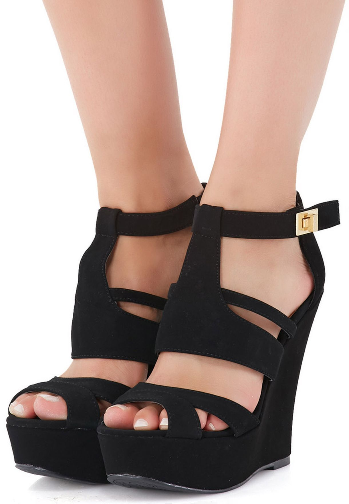 dfa031629619 Shop Qupid black Strappy Wedge Sandals for Women in Oman ...