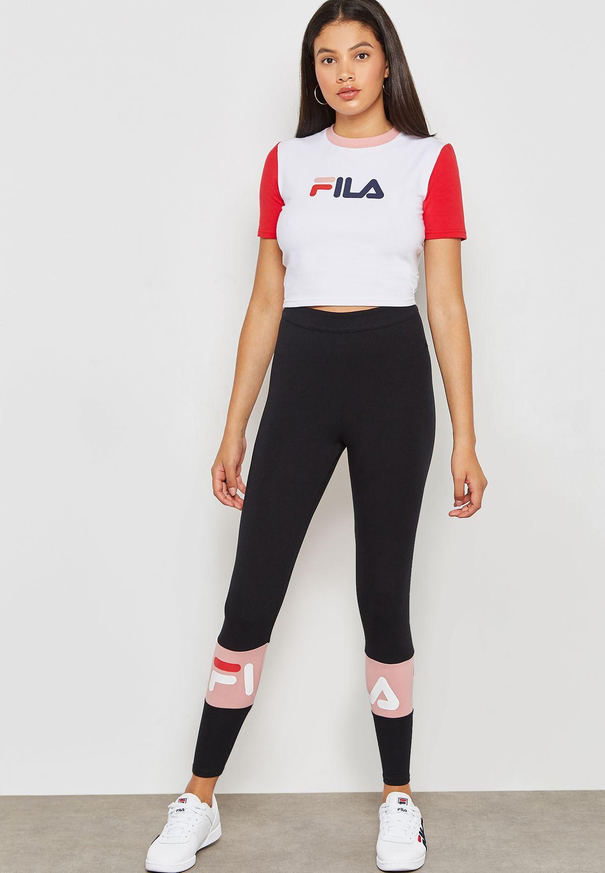 Shop Fila black Dina Back Seem Leggings LW183Y63-001 for Women in Qatar -  FI041AT96QRV c088a10b348