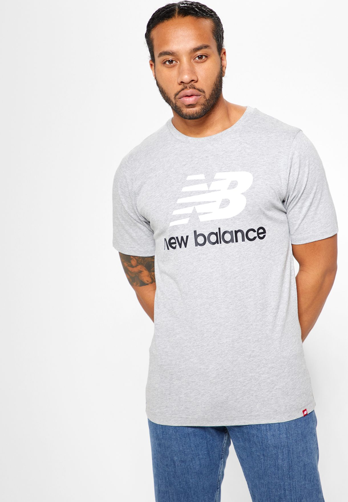 c1ba0b63 Shop New Balance grey Essential Stacked Logo T-Shirt MT83530AG for ...